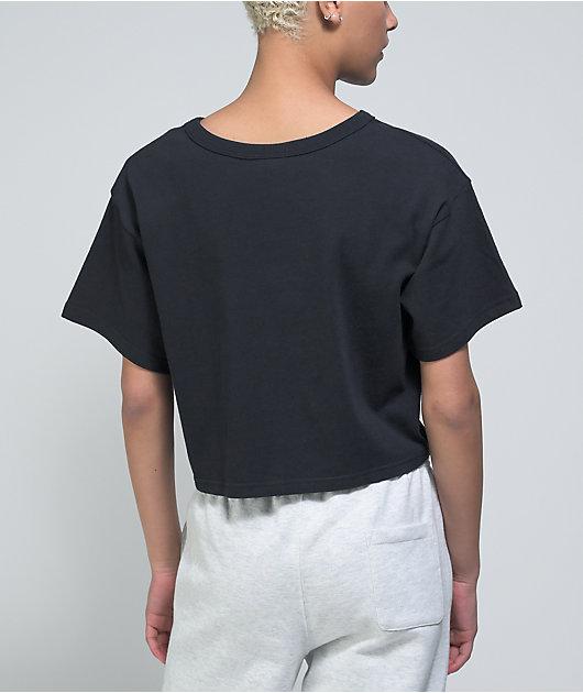 Champion Script Logo Black Crop T-Shirt