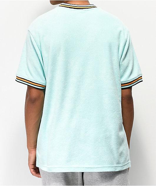 Champion Script Logo Waterfall Green Terry Ringer Shirt