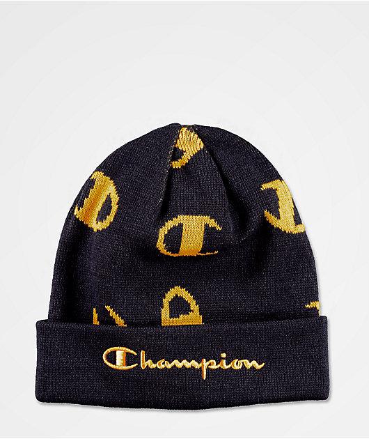 Champion Script Print gorro azul marino y dorado