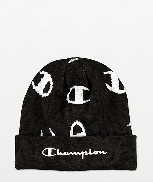 Champion Script Print gorro negro y blanco
