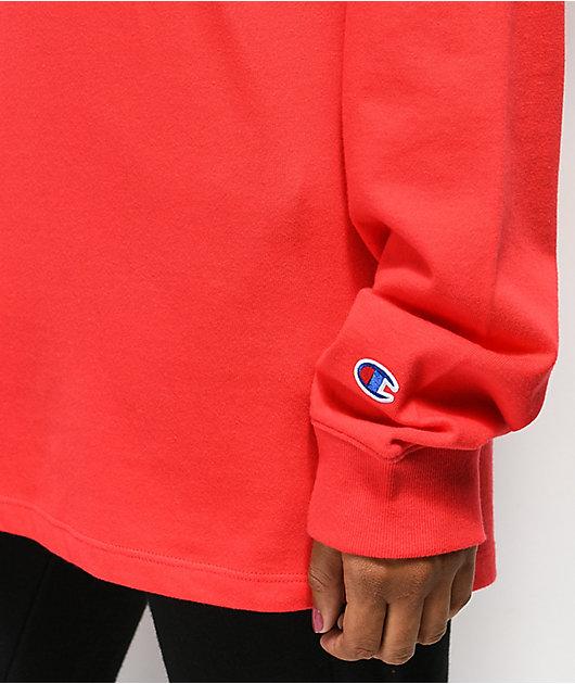 Champion Script Red Long Sleeve T-Shirt