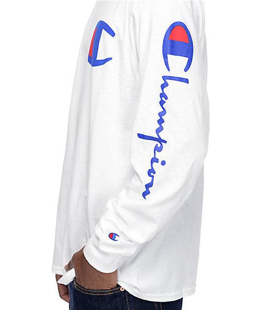 Champion Script Sleeve White Long Sleeve T-Shirt