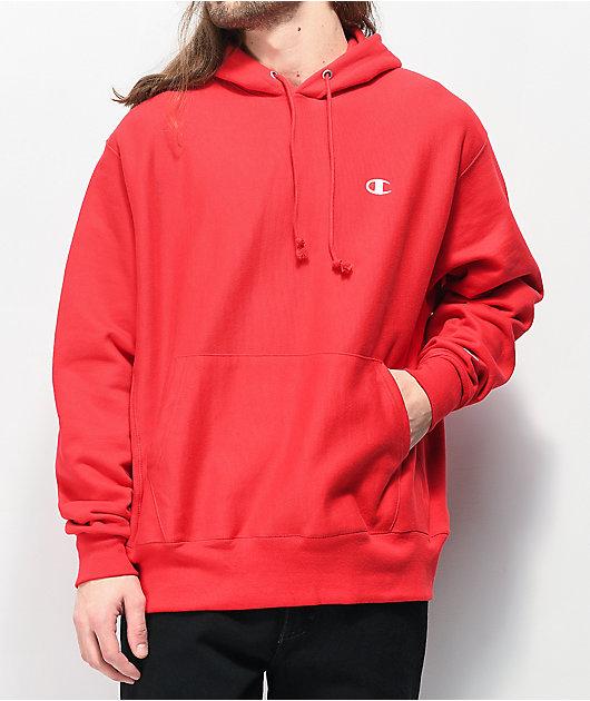 Champion Small C sudadera con capucha roja de tejido inverso