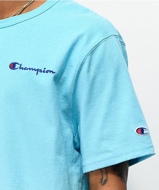Champion Small Heritage Script Light Blue T-Shirt