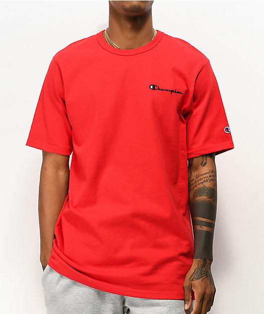 Champion Small Heritage Script Red T-Shirt