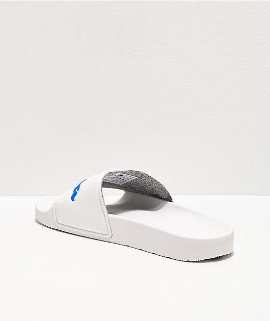 Champion Split Script White Slide Sandals