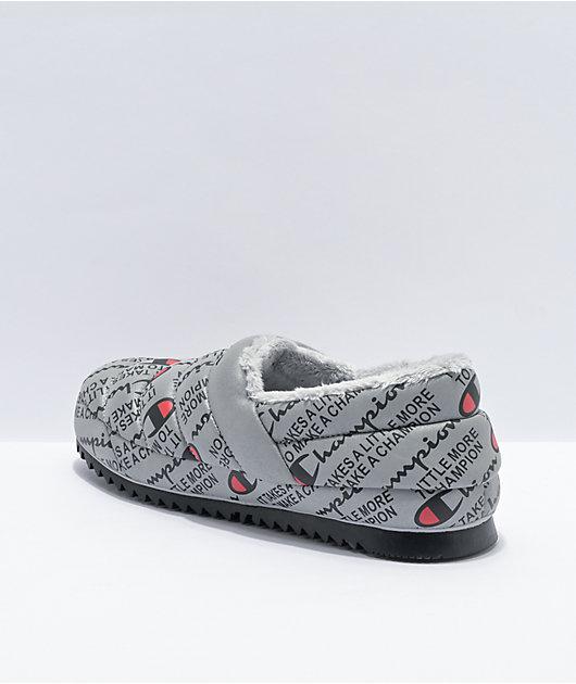 Champion Varsity Reflective Silver & Black Slippers