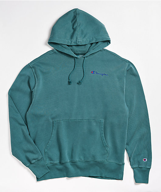 S3331 549295 Champion Mens Vintage Dye Fleece Pullover Hoodie Embroidered Logo