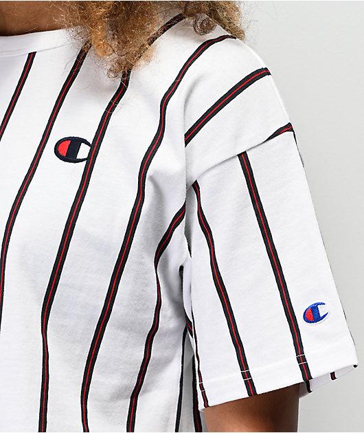 Champion White, Blue & Red Striped Crop T-Shirt