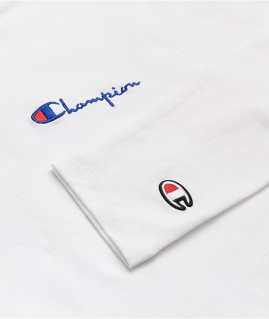 Champion White Crop Long Sleeve Mock Neck Top