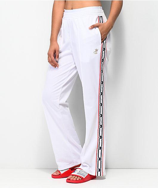 Champion White Logo Taping Track Pants