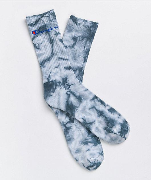 Champion Wildflower Blue Tie Dye Crew Socks