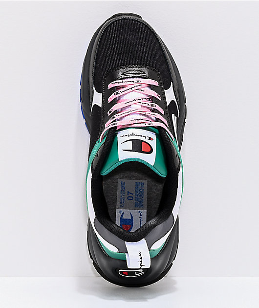 Champion Women's 93 Eighteen Big C Black, Grey, Green & White Shoes