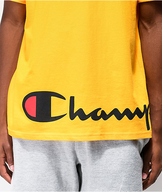 Champion Wrap Around Script Gold T-Shirt