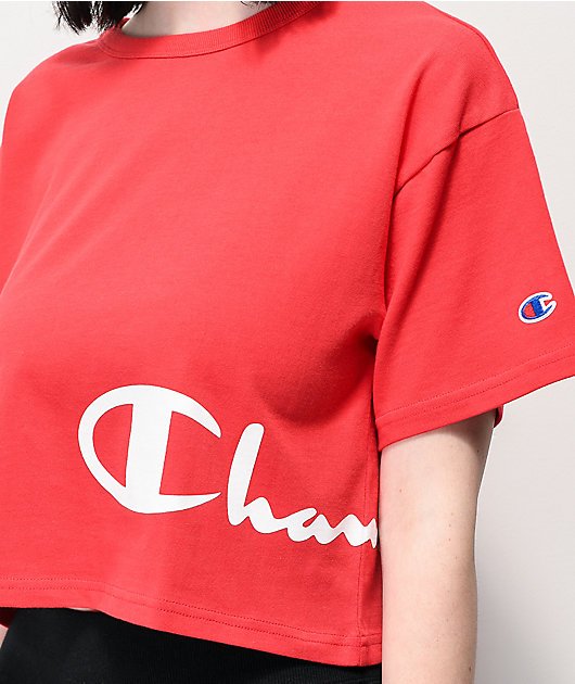 Champion Wrap Script Red Crop T-Shirt