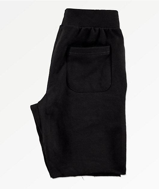 Champion shorts de punto negro deshilachados