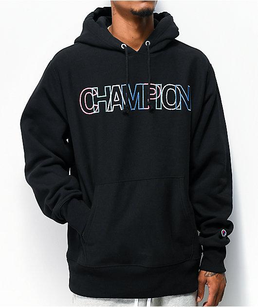 Champion sudadera con capucha de tejido inverso multicolor y negro