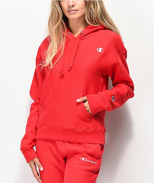 Champion sudadera con capucha de tejido inverso rojo escarlata