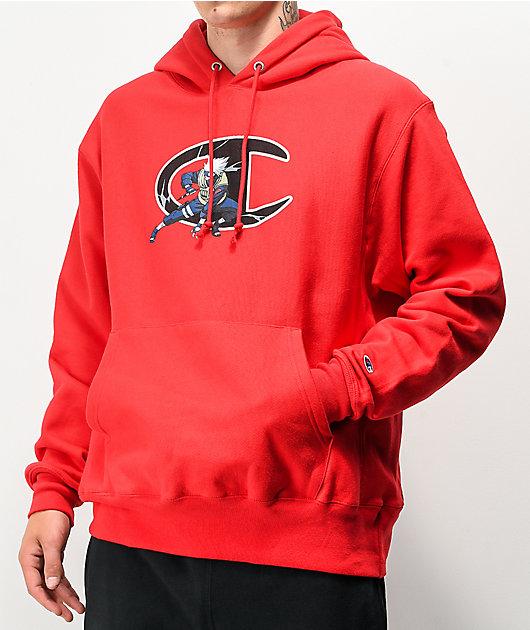 Champion x Naruto Kakashi Reverse Weave Red Hoodie