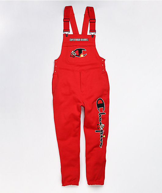 Champion x Super Mario Bros Fire Red Fleece Overalls