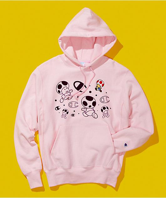 Champion x Super Mario Bros Toad Light Pink Hoodie