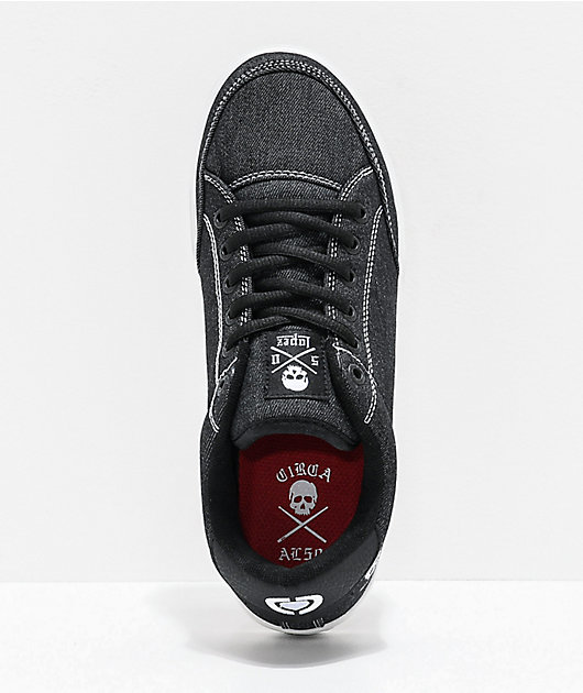 Circa Lopez 50 Skull zapatos de skate de mezclilla negra