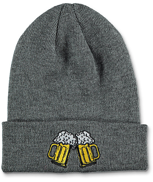 Gray O//S Details about  /Set of 2 Coal Beanie Hats NWT Lauren /& Crave Beer Mugs Knit Ski Purple