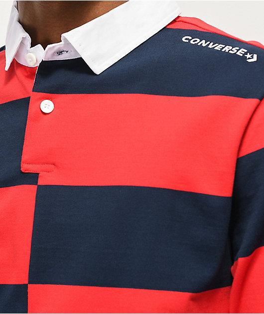Converse All Star Rugby polo de manga larga roja y azul marino