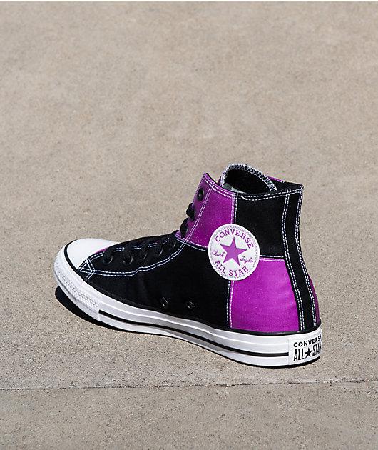 Converse CTAS HI UV Black & Magenta High Top Shoes