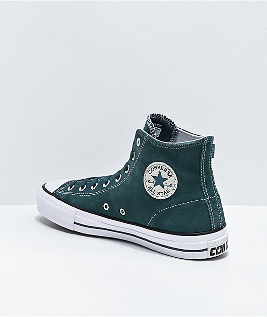 Converse CTAS Pro Hi Faded Spruce & White Suede Skate Shoes