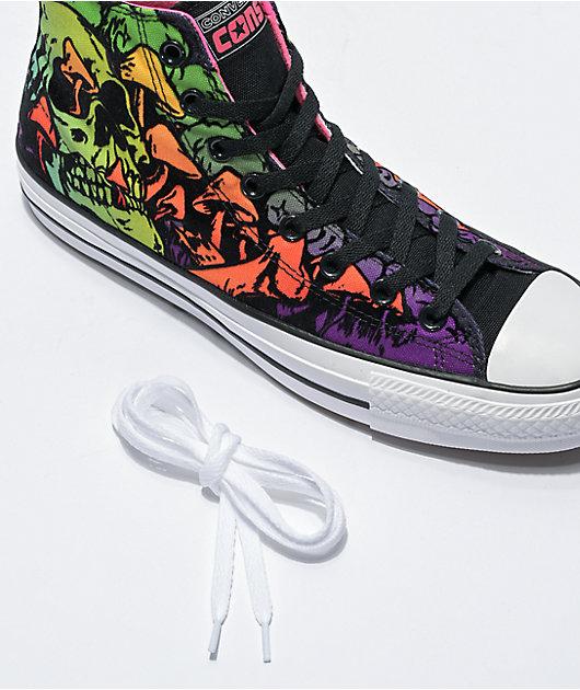 Converse CTAS Pro Hi Wasabi & Pink Black Light Skate Shoes