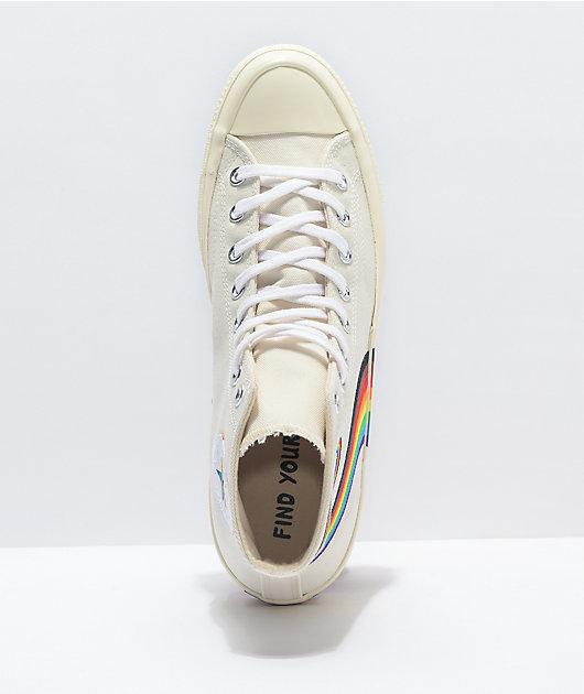 Converse Chuck 70 Hi Pride White & Rainbow Shoes