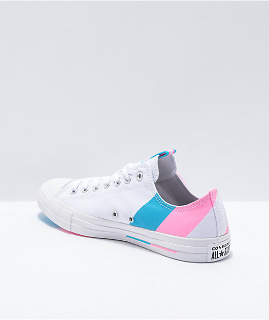 Converse Chuck Taylor All Star Ox Pride White, Pink & Blue Shoes