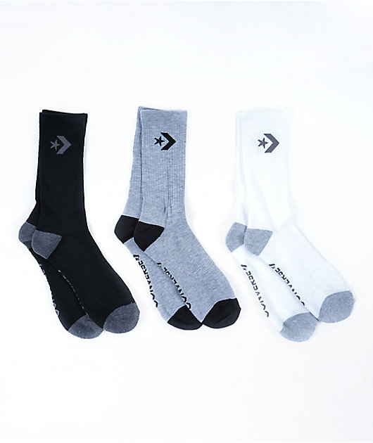 Converse Classic Star Black, Grey & White 6 Pack Crew Socks