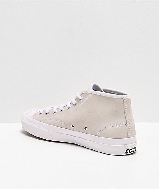 Converse Jack Purcell Pro White Suede Mid Top Skate Shoes