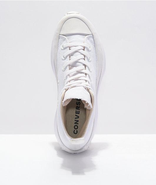 Converse Run Star Hike All White High Top Shoes