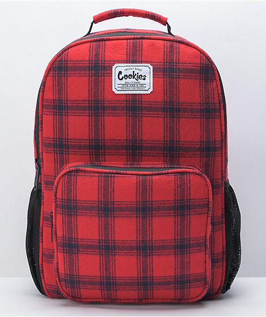 Cookies Lumberjack Smell Proof Red & Black Plaid Backpack