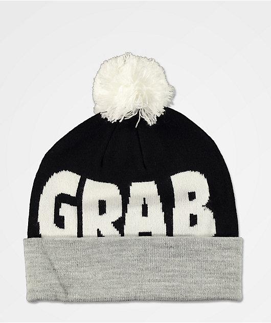 Crab Grab Black & Grey Pom Beanie