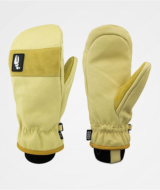 Crab Grab Man Hands Tan & Black Leather Snowboard Mittens