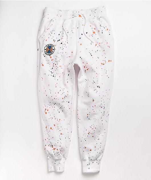 Cross Colours Circle Logo White Splatter Jogger Sweatpants