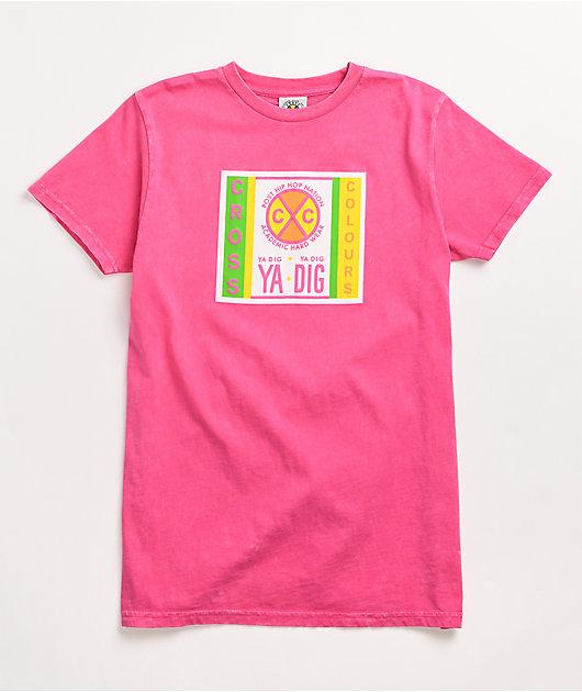 Cross Colours Label Logo Pink T-Shirt