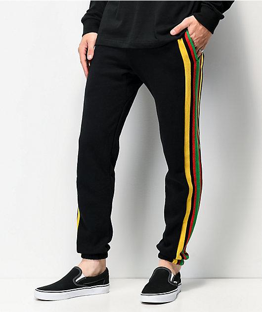 Cross Colours Stripe Logo Black Jogger Sweatpants