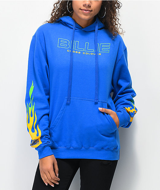Cross Colours X Billie Eilish Flame Blue Hoodie Zumiez
