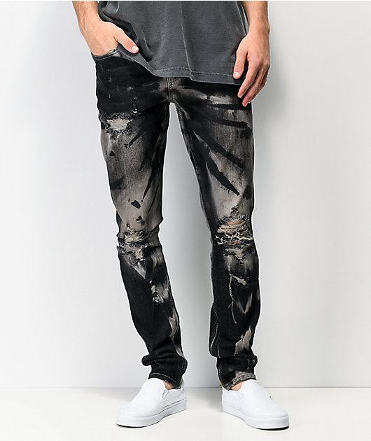 Crysp Denim Pacific Destroyed Black Skinny Jeans