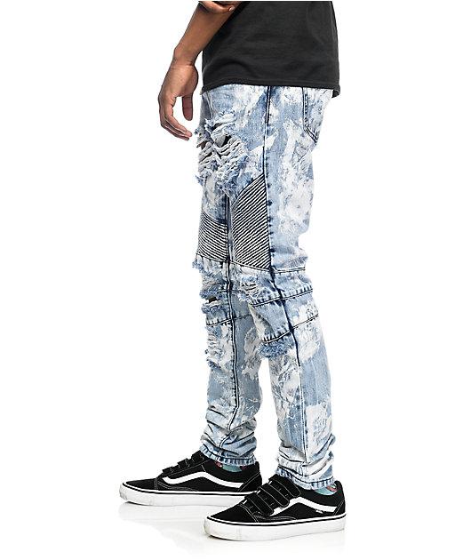 Crysp Denim Skywalker Biker Distressed Jeans
