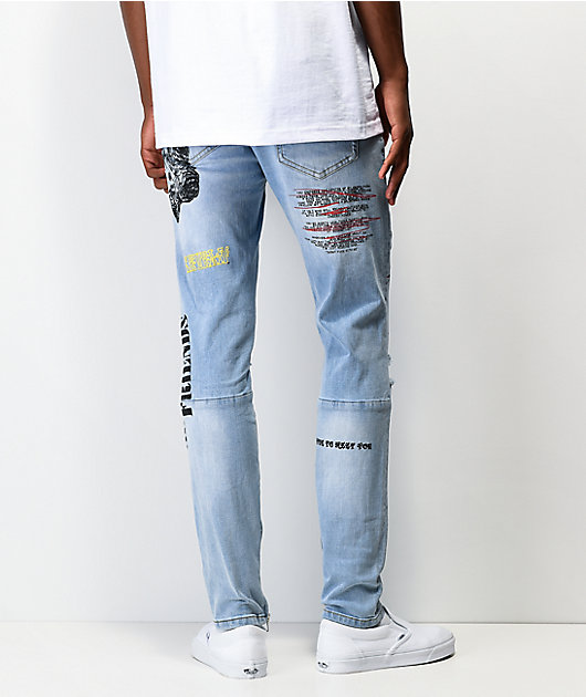 Crysp Pacific Scribbles jeans de mezclilla