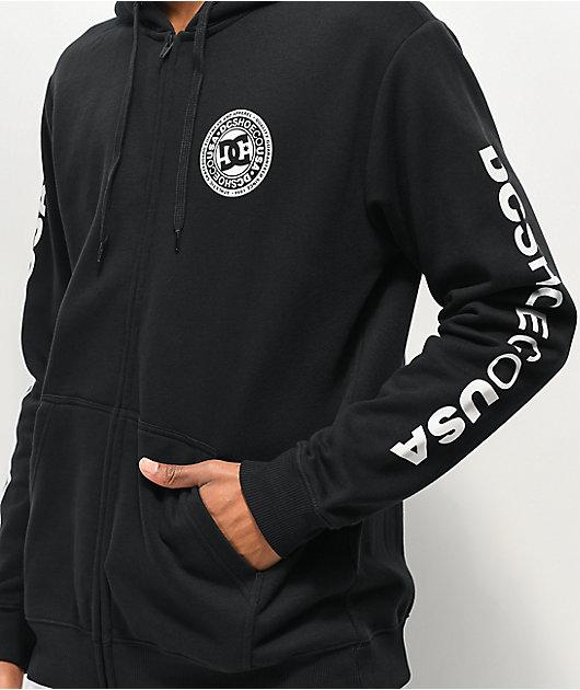 DC Circle Star sudadera con capucha negra y blanca