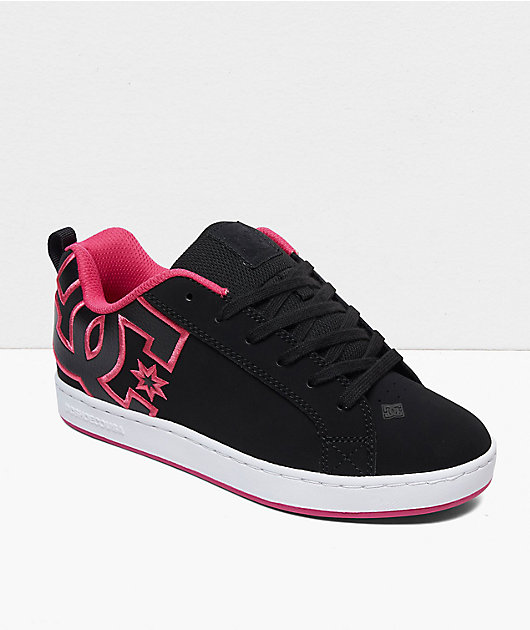 DC Court Graffik Black & Pink Stencil Skate Shoes