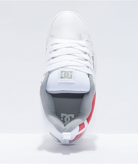 DC Court Graffik SE White, Grey & Red Skate Shoes