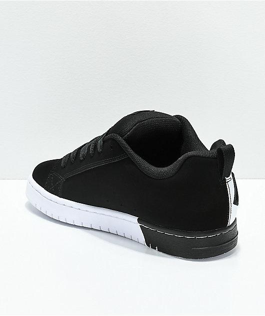 DC Court Graffik SQ Black & White Skate Shoes